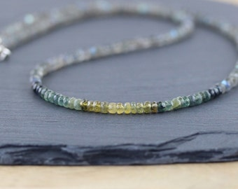 Ombre Sapphire & Labradorite Beaded Necklace. Blue, Green, Yellow Gemstone Choker. Long Layering Necklace in Sterling Silver or Gold Filled