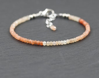 Shaded Peach Moonstone Dainty Bracelet in Sterling Silver or Gold Filled. Beaded bracelet. Delicate Stacking Bracelet. Gemstone Jewelry. b-8