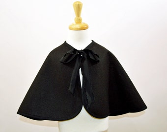 Black Cape, Witch Cape, Wizard Cape, Felt Cape,Halloween Costume, Adults and Childrens Costume, Made to Order