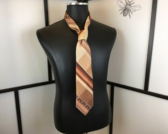 Brown Striped and Floral Necktie, Vintage Tie, Wembley, Mens Accessories, Mens Fashion,