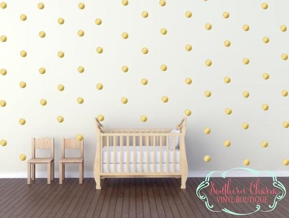 Gold Polka Dot Wall Decals Vinyl Nursery Bedroom Office Bathroom