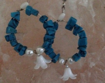 Turquoise Flower Hoops