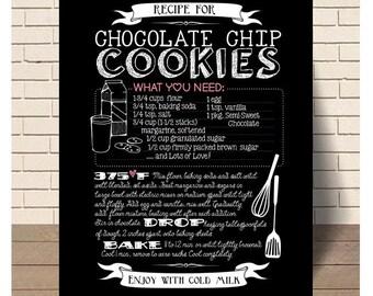 Chocolate Chip Cookie Art Recipe, Chalk, Chalkboard, Cookies, Kitchen Decor, Kitchen Art, Print, Instant Download, Printable Art, Typography