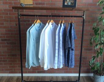"""Industrial Pipe Clothing Rack with Wood Top Shelf - 48"""" Wide - Cedar Wood Shelf - Black Pipe"""