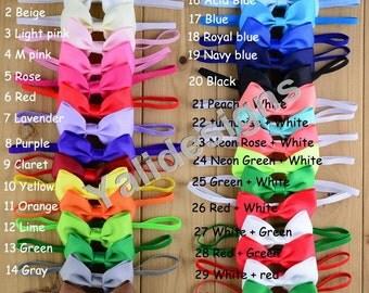 Colorful Baby Headbands Ribbon Bowknot Headband Fold Over Elastic Headbands  -YTK37