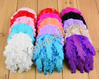 U Pick 10cmx14cm( 3'' inch-3.9'' inch) 1pcs/lot Curly Feathers Pad Headband Accessories  -YTK24