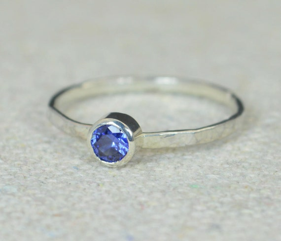 small sapphire ring hammered silver ring stackable rings