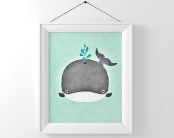 Baby Whale Watercolor, Whale Art, Whale Nursery Art, Boy Nursery Decor, Baby Art, Whale Nursery Print, Baby Animals, Cute Whale
