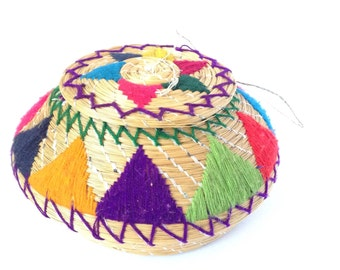 Colorful Vintage Woven Basket with removable Lid