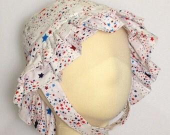 Infant Girl Ruffled Star Print Sun Hat