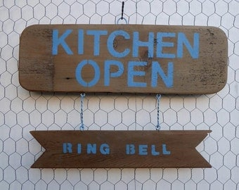 "Wooden Sign - ""Kitchen Open - Ring Bell"""