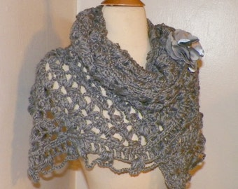 Gray Oversized Shawl Triangle Scarf  Crochet Oversized Lavender Boho Festival Cowl Wrap Scarf Wrap With Brooch