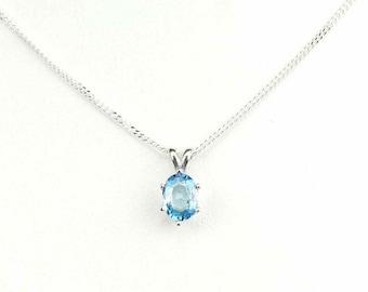 Sterling Silver Blue Zircon Pendant
