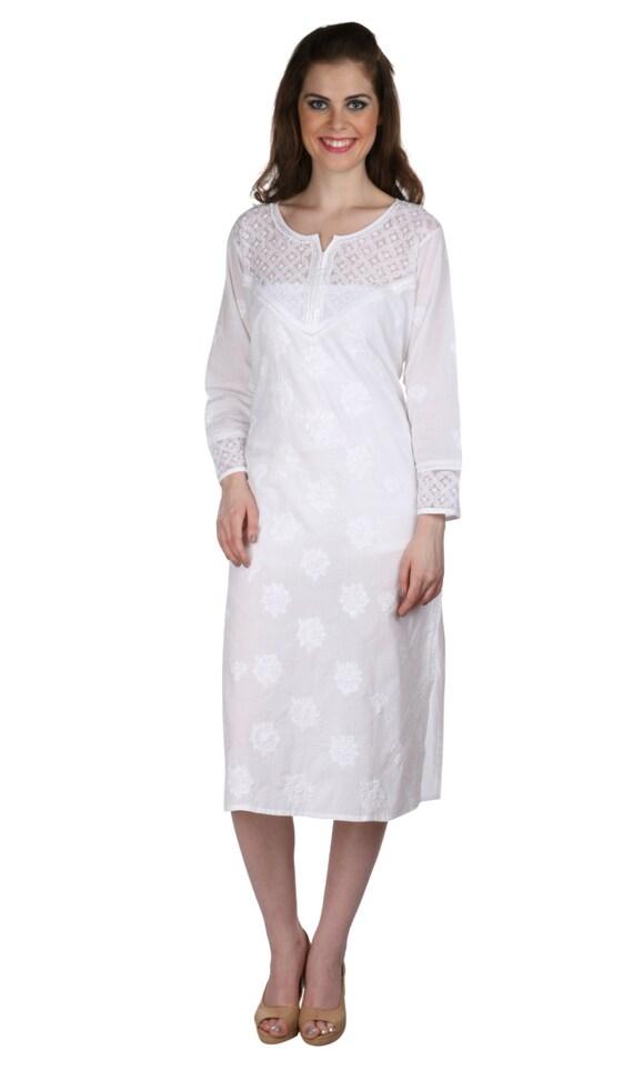 Indiankala4u - White Ladies Kurta Lucknow Ethnic Chikankari Hand Embroidery Kurta/Kurtis/Top ...