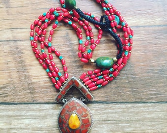 Amber Coral Necklace