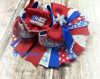 Red White and Blue Bow, Flag Hair Bow, Fourth of July Bow, Over the Top Bow, Over the Top Bow, Patriotic Hair Bow, Fireworks Bow, Summer Bow