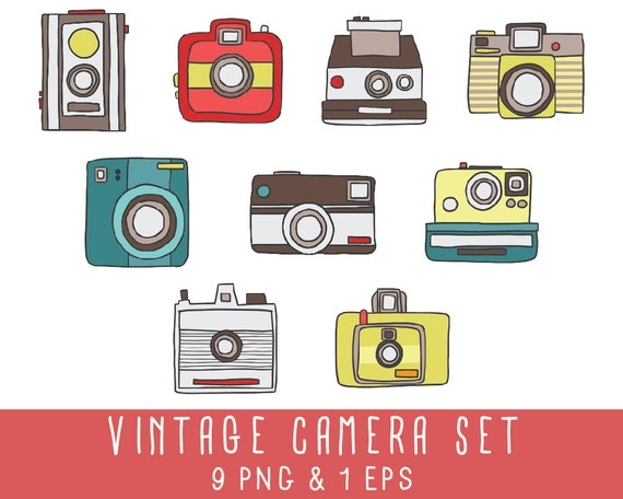 Vintage appareil photo INSTANT DOWNLOAD Clip Art & Vector
