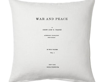 War and Peace Pillow Cover, Book pillow cover.