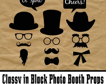 Black Mustaches, Hats and Glasses Photo Booth Props and Decorations - Classy in Black - Printable - 30 Images - INSTaNT DOWNLoAd