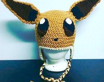 Eevee inspired handmade Pokémon beanie