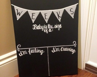 Reusable Due date countdown, weekly pregnancy progress canvas chalkboard painting