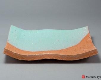 Pair of Earthenware Pottery Trays: Tin Glaze, Handmade Ceramics