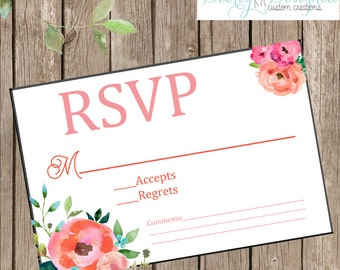 Beautiful Watercolor Floral Wedding RSVP instant download file