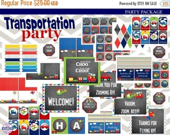 60% OFF Transportation Chalkboard Birthday Party Instant Download Printable Party Package, planes, trucks, cars, helicopters, trains, DIY