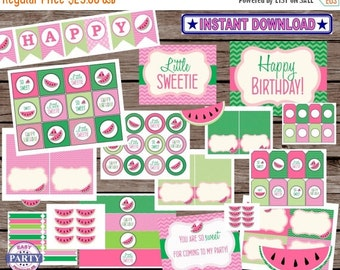5 Dollar SALE Watemelon Party Package, pink and green, instant download, watermelon party, summer picnic, happy birthday banner, cupcake top
