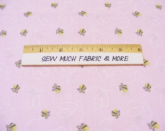 Sweet Meadow Bee Trail Fabric~Baby Soft Pink~by the yard~Springs Creative~Tiny bees~CP46250