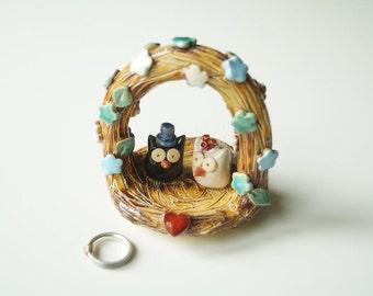 Rustic Wedding Cake Topper, Owl Cake Topper, Unique Cake topper, Ceramic owls