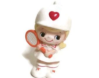 Vintage Kitshcy Tennis Player Japan Ceramic Piggy Bank Coin Bank - Valentine's Day