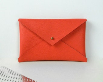 """Small Flat Wallet """"Coral"""",for iphone 5/6s/7, leather case, phone case, mini purse"""