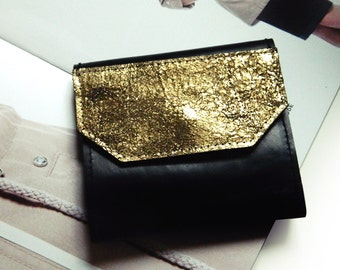 """Small leather purse/wallet/purse/black/gold """"Marble gold"""""""