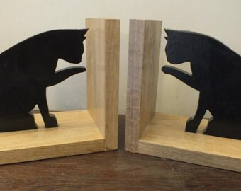 A Hand Made Pair Of Black Cat Oak Bookends