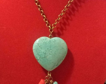heart turquoise stone necklace