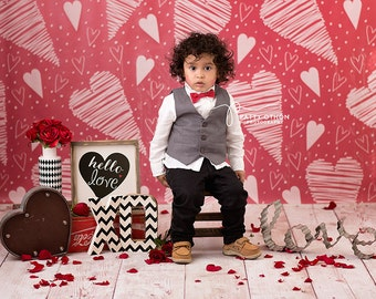 Valentine's Backdrop, Vinyl Photography Backdrop Valentine's Day Photography Background, Valentines Photography Props Red Hearts VD128
