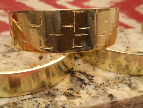 Three (3) Textured Brass Women's Cuff Bracelet