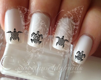 Tribal Turtle  Nail Art Nail Water Decals Transfers Wraps