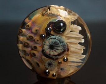 Ameba - Lampwork focal lentil bead