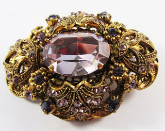 """Vintage 1950s Signed """"Made in West Germany"""" Gold Toned Filigreed Amethyst Rhinestone Pin"""
