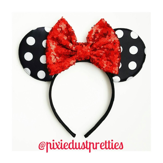 Polka dot Minnie ears, minnie mouse ears, red minnie ears, minnie mouse, my first disneyland, black minnie ears