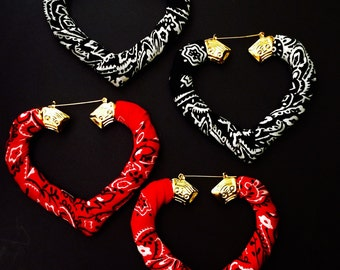 3 inch gold bamboo heart hoops bandanna wrapped