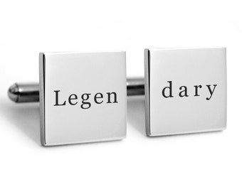 Legendary Engraved Cufflinks, Stainless Steel Cuff links, groom, groomsmen, father
