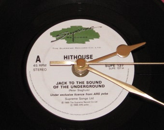 """Hithouse Jack to the sound of the underground  7"""" vinyl record clock"""
