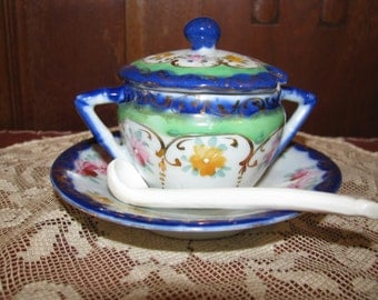 Vintage Hand-painted sugar bowl with spoon