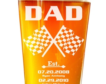 Nascar, Personalized Beer Glass, Etched Drinking Glass for Him, Father's Day Gift, Dude Gift, Beer Glass w/ Children's Birth Dates, Flags