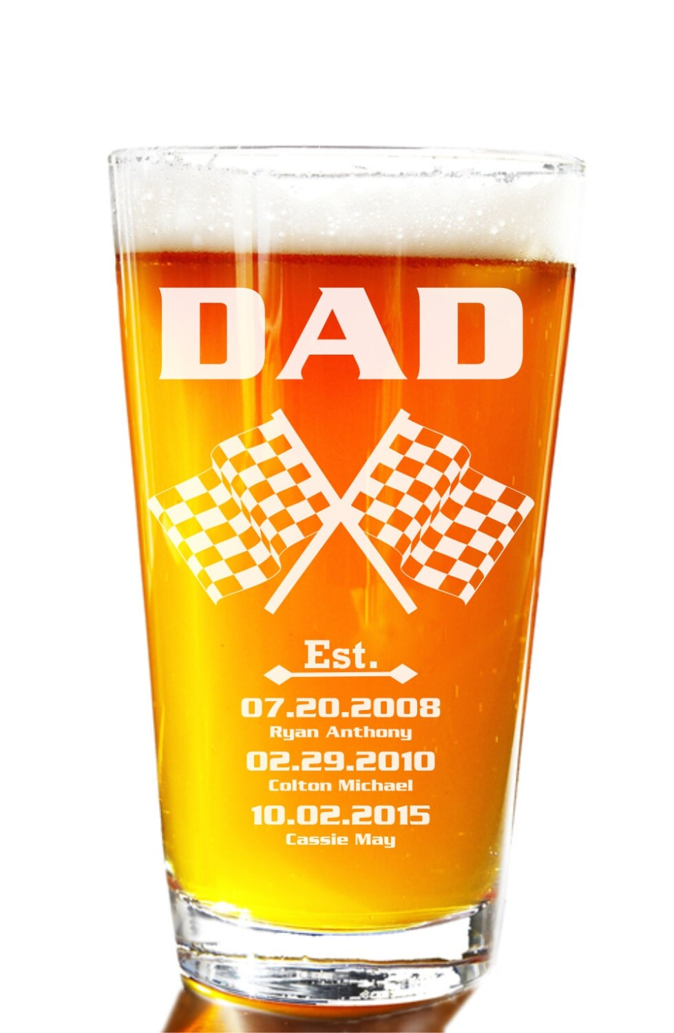 Nascar Personalized Beer Glass Etched Drinking Glass For