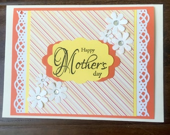 Mother's Day Card, Orange Mother's Day Card, White Flowers Mother's Day Card, Yellow Mother's Day Card, Floral Mother's Day Card