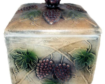 BLOW OUT.... WAS 13.00...Grape Ceramic Jar With Lid